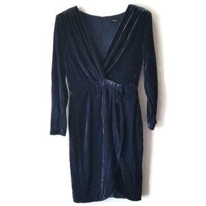 Theory Dress Silk crossover blue velvet sz 00